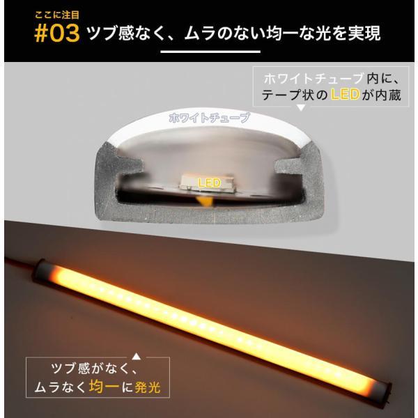 シーケンシャルウインカー 流れるウインカー LED テープライト 12V 30センチ 44連 2本入り ホワイトチューブ 簡単取付 保証半年 送料無料|gfactory|09