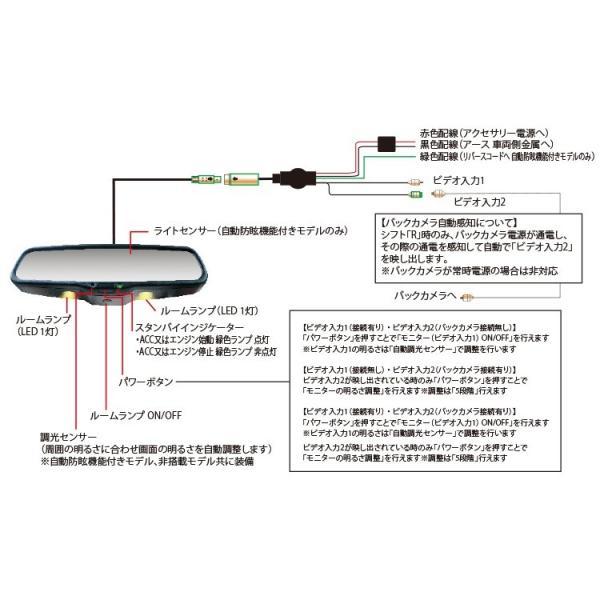 自動防眩機能付き 4.3インチ モニター LEDルームランプ 内蔵 ルームミラーモニター 高画質で夜間安心 純正ミラー交換タイプ ver.3|gfactory|06