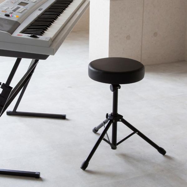 キーボードベンチ椅子スツール折りたたみドラムスローンいすイス丸型円形丸いす軽量コンパクトキーボード電子ピアノギター