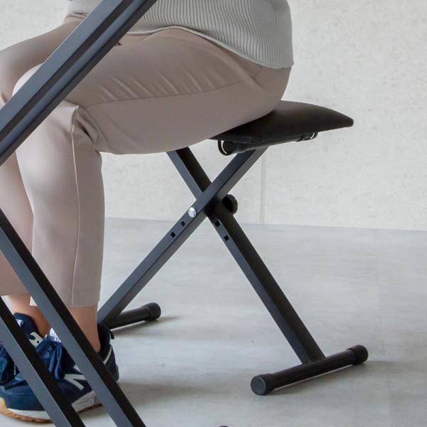 キーボードベンチ椅子スツール折りたたみ高さ調節いすイスクッション軽量コンパクト電子ピアノX型キーボードチェアブラック黒