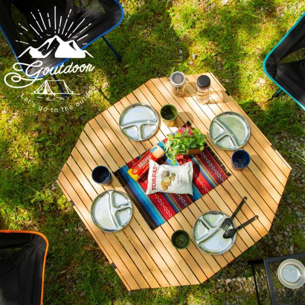送料無料 アウトドア キャンプ テーブル ウッド 木製 ロールトップテーブル ウッドテーブル 折りたたみ 折り畳み コンパクト 八角形 90cm おしゃれ