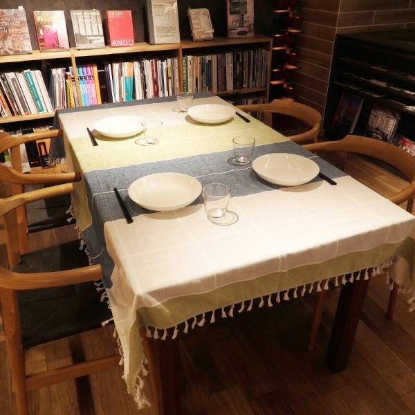 テーブルクロス 北欧 おしゃれ 長方形 230×140cm 青 緑 青 灰 ブルー グリーン グレー モダン  @87302 ggbank 07