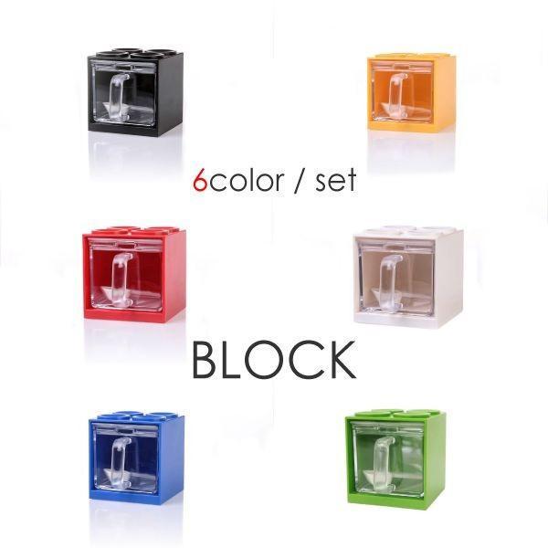 調味料入れ おしゃれ ブロック型 縦 横 6色 セット(2)  白 赤 青 黄 緑 黒 容器 ストッカー ラック 収納 _92107|ggbank|02