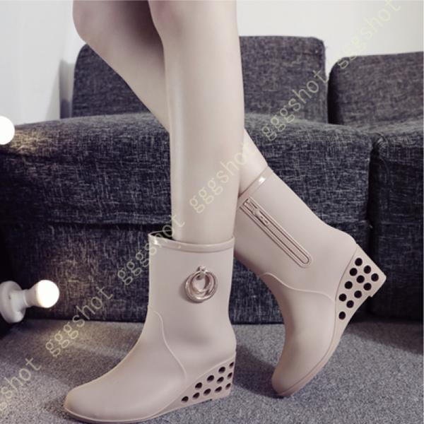 レディースレインシューズブーツ6cmウエッジソール大きいサイズ防水滑り止め美脚軽量雨靴レインブーツオシャレかわいい晴雨兼用婦人靴