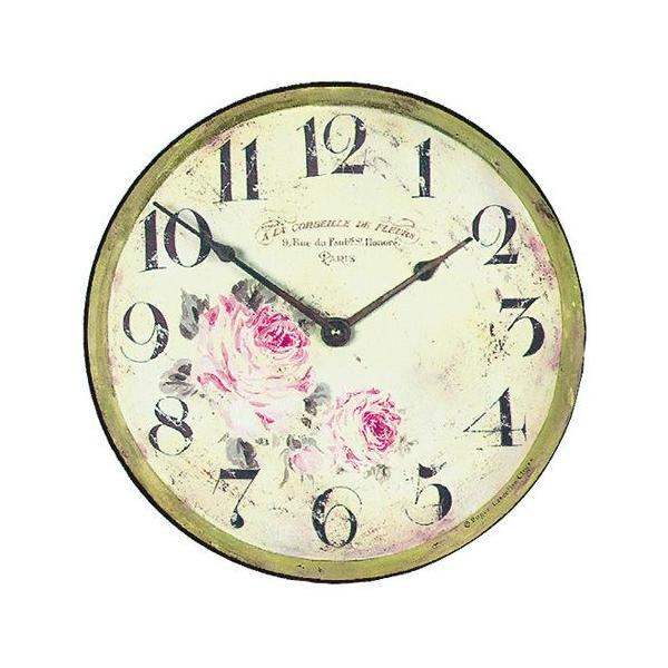 ロジャー・ラッセル 英国製アンティーク掛け時計(バラ柄) ブランド 海外 おしゃれ クロック