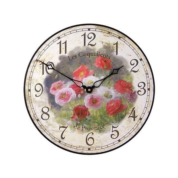 ロジャー・ラッセル 英国製アンティーク掛け時計(ひなげし柄) ブランド 海外 おしゃれ クロック