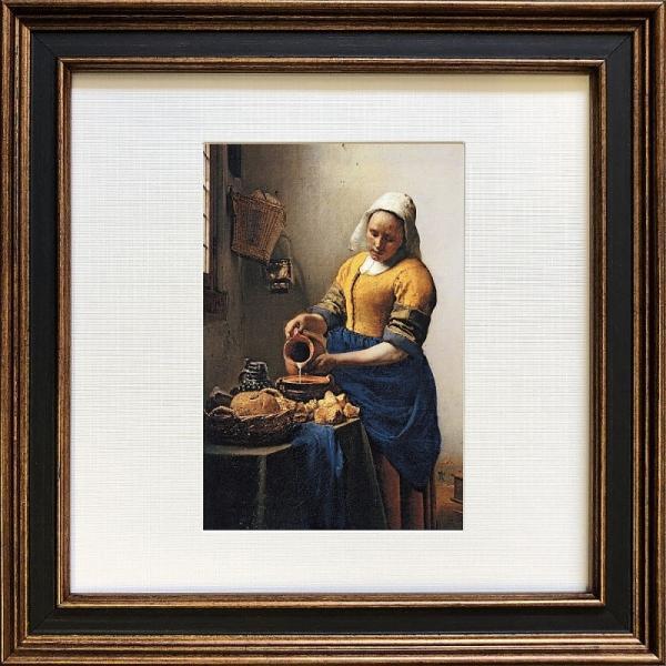 ( アートフレーム ) Johannes Vermeer Square Frame 牛乳を注ぐ女 ポスター アート インテリア 贈り物