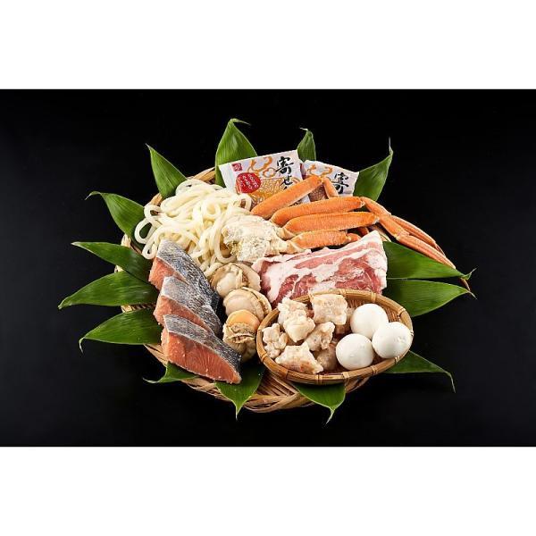 ( 産地直送 お取り寄せグルメ ) 北海寄せ鍋セット(鮭切り身3切、野菜ちぎり100g、じゃが豚3玉、ボイルほたて3個 ・・・・・)