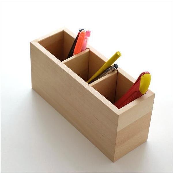 ペン立て 木製 ペンスタンド おしゃれ ペンたて 天然木 無垢 仕切り 木目 シンプル 鉛筆立て リモコンスタンド メガネスタンド 収納 ウッドペン立て ビーチL
