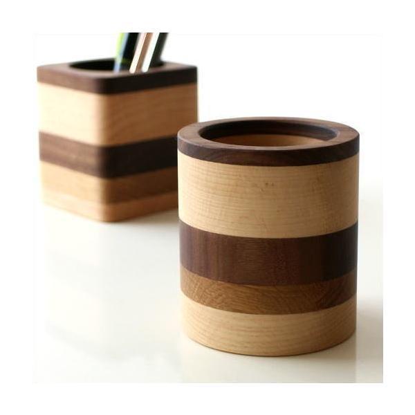 ペン立て 木製 ペンスタンド おしゃれ 天然木 無垢 シンプル かわいい 鉛筆立て リモコンスタンド メガネスタンド ナチュラルウッドのペンたて モザイク2タイプ