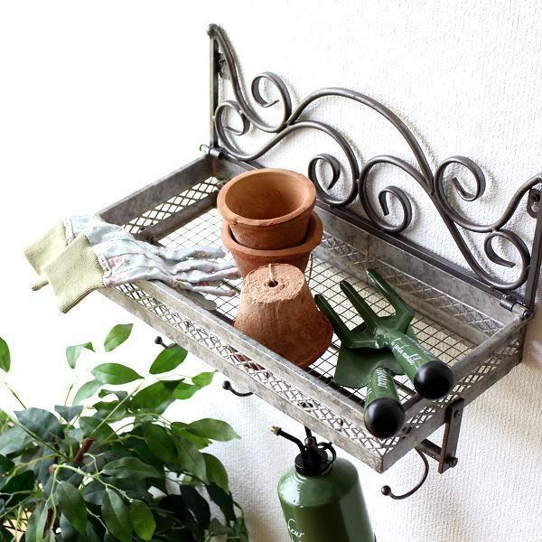 ウォールシェルフ アイアン おしゃれ フック付き 壁掛け 収納棚 飾り棚 ベランダ ガーデン ウォールラック アイアンフック付きシェルフ