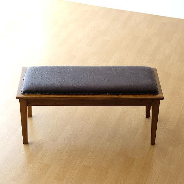 ベンチ 木製 長椅子 腰掛け チェア おしゃれ 革 レザー 天然木 無垢 アジアン家具 完成品 チークベンチ100
