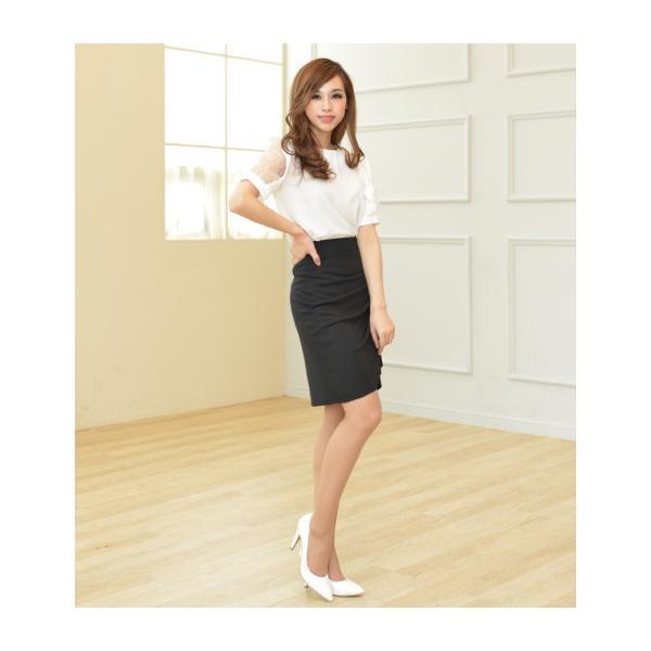 スカート レディース デザインラッフル&ギャザー チューリップタイトスカート GINA 一部予約 Lサイズあり 膝下丈 ひざ丈|gina|11