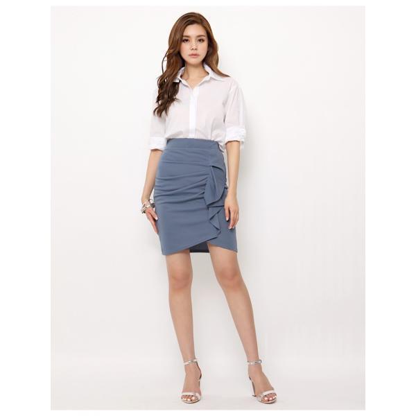 スカート レディース デザインラッフル&ギャザー チューリップタイトスカート GINA 一部予約 Lサイズあり 膝下丈 ひざ丈|gina|14