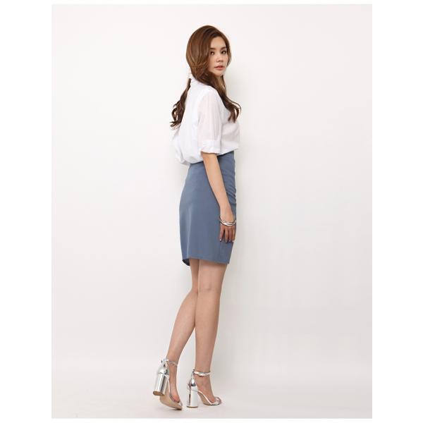 スカート レディース デザインラッフル&ギャザー チューリップタイトスカート GINA 一部予約 Lサイズあり 膝下丈 ひざ丈|gina|15