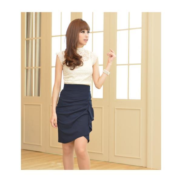 スカート レディース デザインラッフル&ギャザー チューリップタイトスカート GINA 一部予約 Lサイズあり 膝下丈 ひざ丈|gina|05