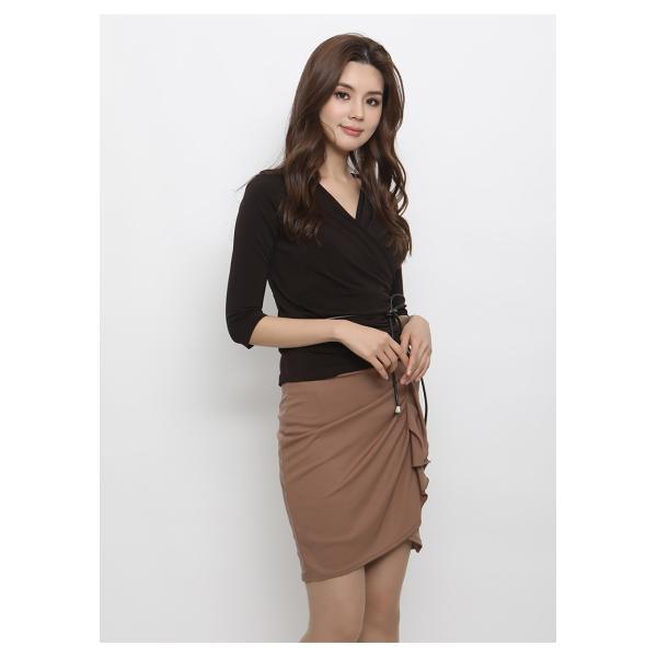 スカート レディース デザインラッフル&ギャザー チューリップタイトスカート GINA 一部予約 Lサイズあり 膝下丈 ひざ丈|gina|07
