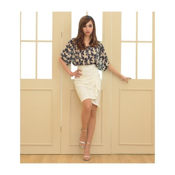 スカート レディース デザインラッフル&ギャザー チューリップタイトスカート GINA 一部予約 Lサイズあり 膝下丈 ひざ丈|gina|09