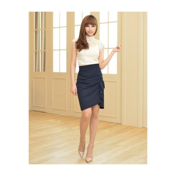 スカート レディース デザインラッフル&ギャザー チューリップタイトスカート GINA 一部予約 Lサイズあり 膝下丈 ひざ丈|gina|10
