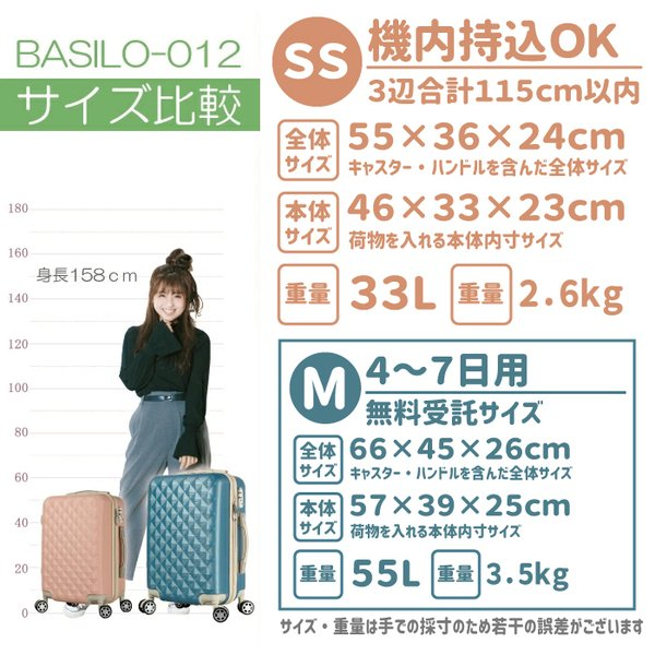 スーツケース  キャリーバック Sサイズ 小型 かわいい おしゃれ 軽量 1〜3日用|gingam-bag|02