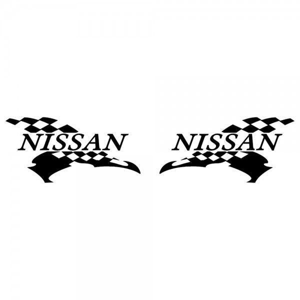 ニッサン 車ステッカー レーシング NISSAN サイズ: 12cm×24cm×左右反転ツインセット|ginkage|02
