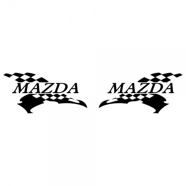 マツダ 車ステッカー レーシング MAZDA サイズ: 12cm×24cm×左右反転ツインセット ginkage 02