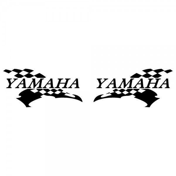 YAMAHA ヤマハ バイク ステッカー レーシング チェッカー フラッグ 左右反転ツインセット|ginkage|02