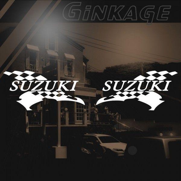 スズキ バイクステッカー レーシング SUZUKI サイズ: 12cm×24cm×左右反転ツインセット|ginkage