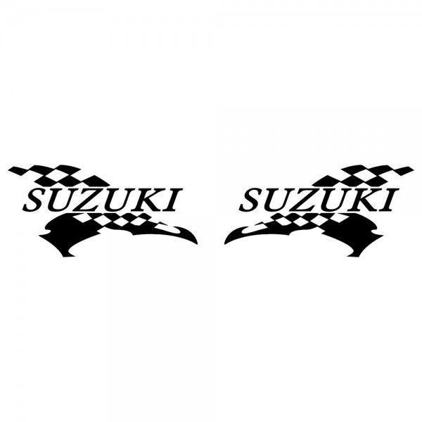 スズキ バイクステッカー レーシング SUZUKI サイズ: 12cm×24cm×左右反転ツインセット|ginkage|02
