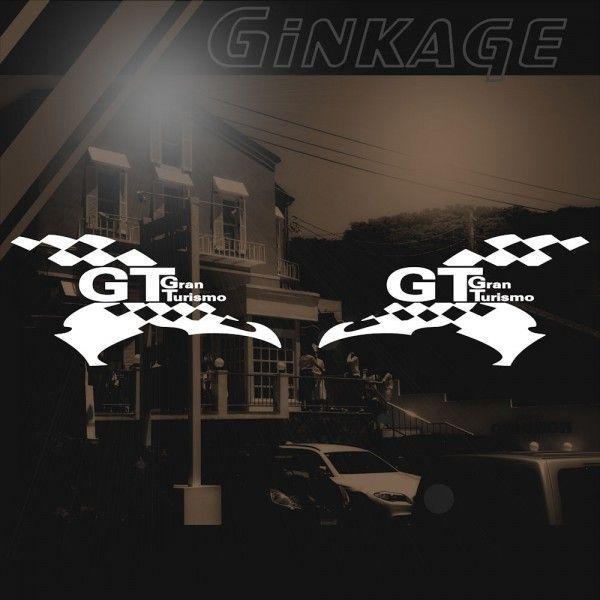 GT ステッカー レーシング GRAN TURISMO サイズ: 12cm×24cm×左右反転ツインセット 車 ステッカー バイク ステッカー|ginkage