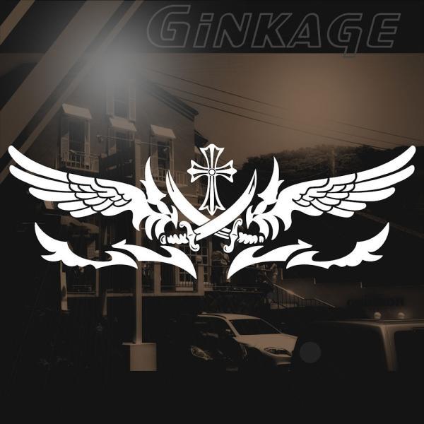 十字架 車 ステッカー かっこいい メーカー ブランド リアガラス用|ginkage