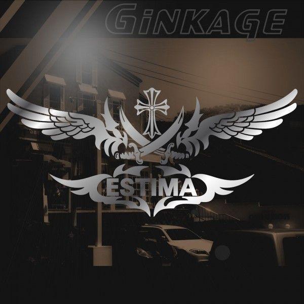 愛車種名が入る かっこいい 十字架 ウイング 車 ステッカー オリジナル メーカー ロゴ エンブレム リアガラス用|ginkage|02