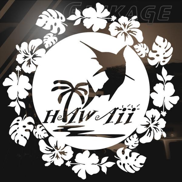 ハワイアン ステッカー カジキ サイズ:24cm×24cm  ステッカー 車 ステッカー ハイビスカス ステッカー|ginkage