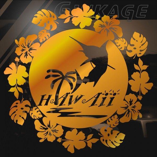 車 ステッカー おしゃれ ハワイアン フラワーリース カジキ ハイビスカス モンステラ 車 リアガラス用 カッティング ステッカー|ginkage|02
