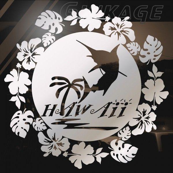 ハワイアン ステッカー カジキ サイズ:24cm×24cm  ステッカー 車 ステッカー ハイビスカス ステッカー|ginkage|03