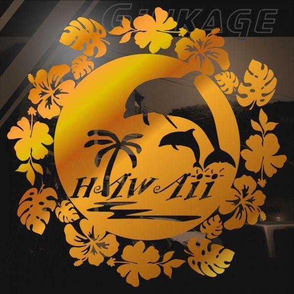 車 ステッカー おしゃれ ハワイアン フラワーリース イルカ ハイビスカス モンステラ 車 リアガラス用 カッティング ステッカー|ginkage|02