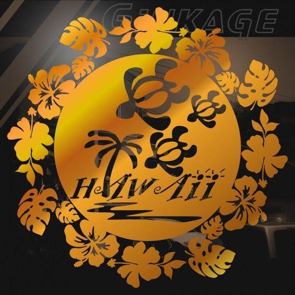 車 ステッカー おしゃれ ハワイアン フラワーリース カメ ホヌ ハイビスカス モンステラ 車 リアガラス用 カッティング ステッカー|ginkage|02
