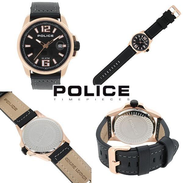 POLICE 腕時計 メンズ ブランド ポリス ランサー ローズゴールド ブラック 革ベルト メンズ腕時計 POLICE ginnokura 02
