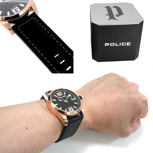 POLICE 腕時計 メンズ ブランド ポリス ランサー ローズゴールド ブラック 革ベルト メンズ腕時計 POLICE ginnokura 03