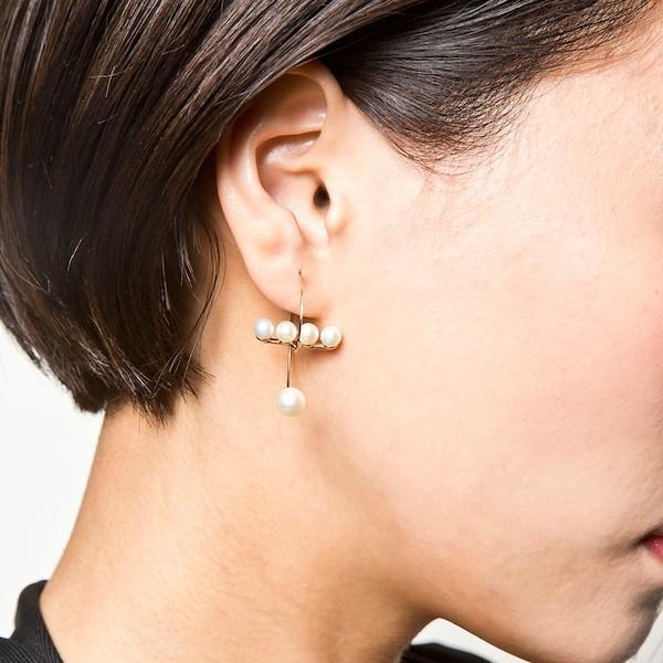 Elenore Jewelry 10金パールバースパイラルフープピアス 片耳用 エレノアジュエリー K10 ゴールド ピアス バー アシンメトリー 淡水|ginnokura|10