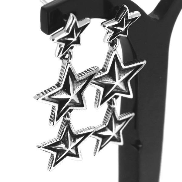 スター ドロップピアス 2P 両耳用 星 三連星 ピアス イヤリング シルバー925 銀 シルバーアクセサリー メンズ
