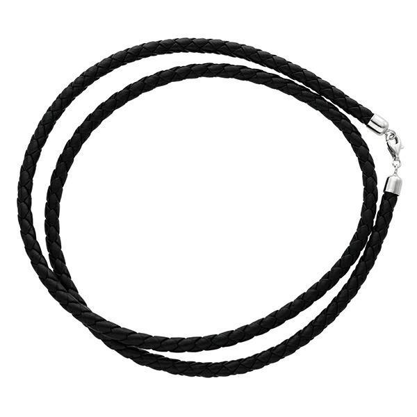 革ひも ネックレス 牛革紐 四つ編み 4mm 50cm 黒 ブラック レザーチョーカー 人気 メンズ レディース 皮ひも シルバー925|ginnokura|05