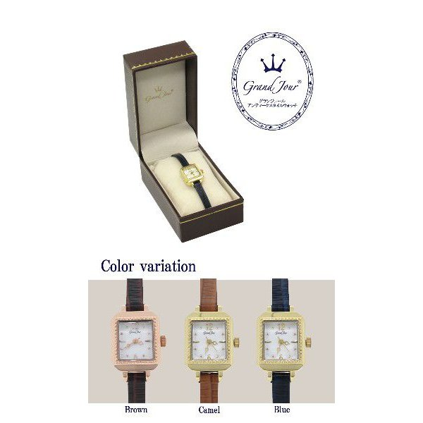 腕時計 レディース ブランド GJ75 スクエア アンティーク ブルー レザーベルト レディース腕時計|ginnokura|02