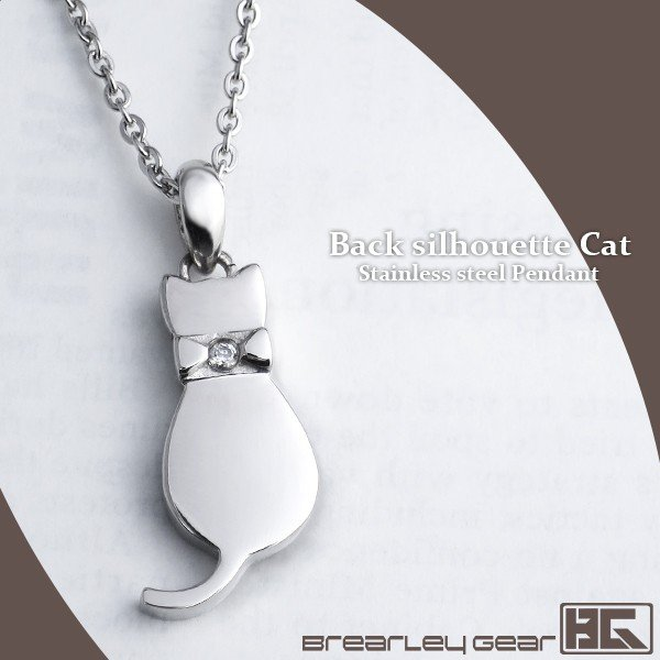 ネックレス レディース サージカルステンレス 猫 リボンキャット ブランド ステンレス レディースネックレス|ginnokura
