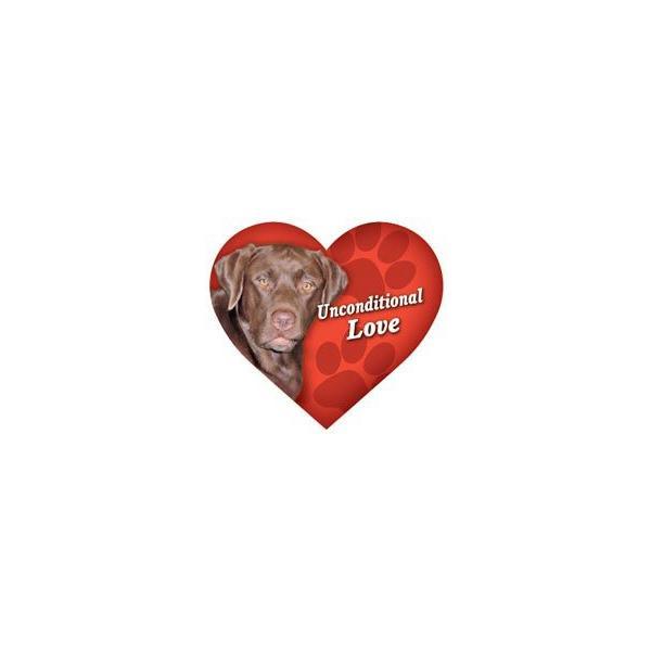 DOG ハートマグネット チョコレートラブラドール・チョコラブ/レッドハート 輸入雑貨・犬グッズ・犬雑貨