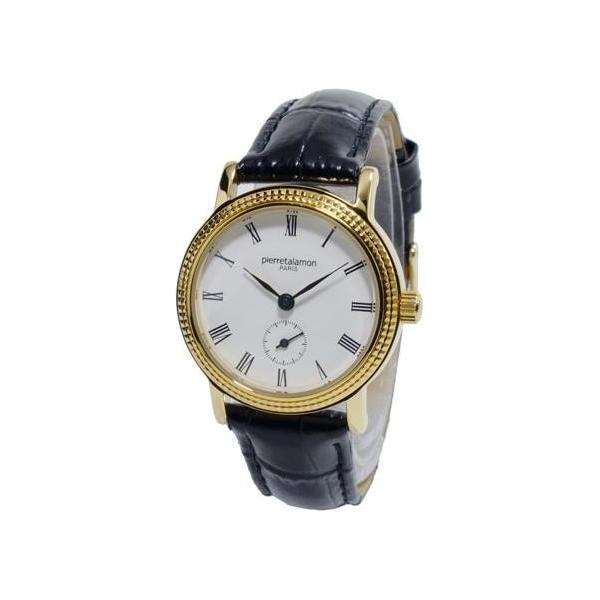 腕時計 レディース ピエールタラモン(pierretalamon) スモールセコンド 革ベルト ゴールド/ホワイト/ブラック色 PT-5100L-2 / 当店再検品済