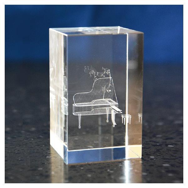 【受注生産お届け2週間】 クリスタルペーパーウェイト ピアノ 3Dレーザー インテリア オブジェ 置物|ginzagift