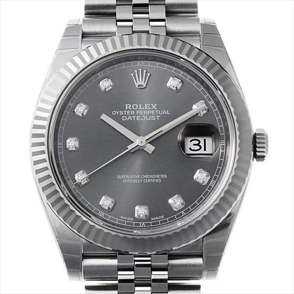 watch d6c1f e047f ロレックス デイトジャスト41 10Pダイヤ 126334G ジュビリーブレス ダークロジウム 新品 メンズ 腕時計