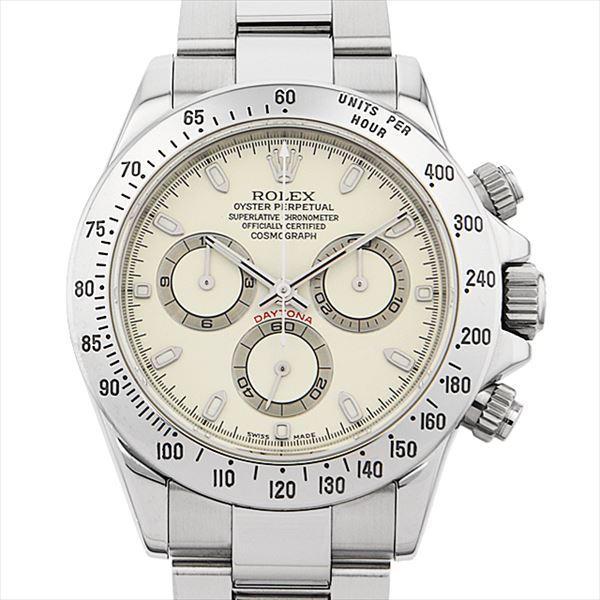 60回払い無金利ロレックスコスモグラフデイトナ116520ホワイト/アイボリー(クリームダイアル)F番中古メンズ腕時計
