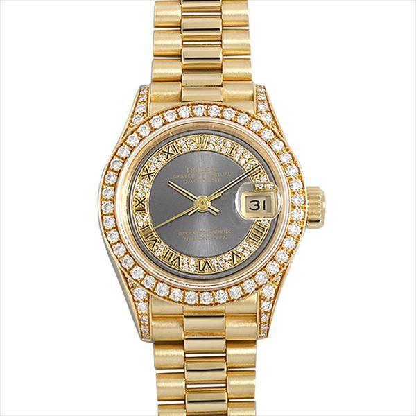 60回払い無金利ロレックスデイトジャストベゼルラグダイヤ69158MRグレー/ミリヤードローマX番中古レディース腕時計